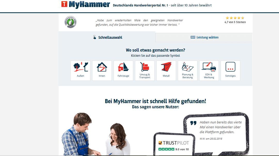 Internetseite vom Handwerker Portal MyHammer